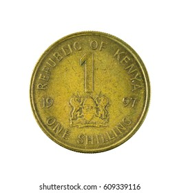 1 kenyan shilling coin (1987) obverse isolated on white background