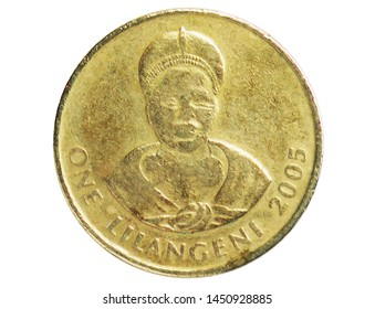 1 Lilangeni coin, 1986~2018 - Mswati III serie, Bank of Swaziland. Obverse, issued on 1995. Isolated on white