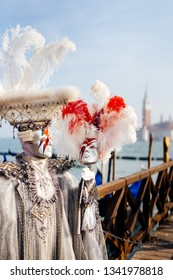 1 March 2019, Venice, Veneto, Italy: man with mask and costume during carnival celebrations