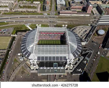 1 May 2016, Amsterdam. Aerial view of Amsterdam Arena with open roof.
