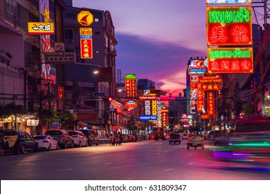 1 May 2017, communication background day to night, The traffic Yaowarat Road in Chinatown, The big market is shopping and foods street. The one of landmarks at night in Bangkok, Thailand.