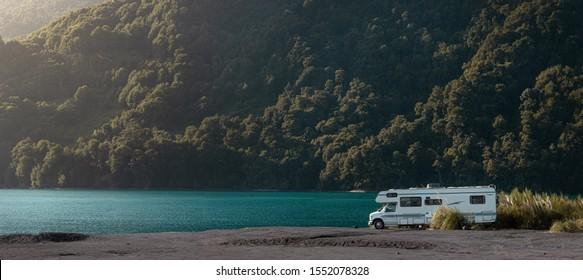 1 may 2019 - Ensenada, Chile: Motorhome in Chilean Ensenada Family trip travel vacation on Motorhome RV. Panoramic view