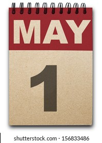 1 May calendar on recycle paper