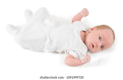 1 month baby in white isolated on white background
