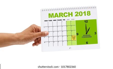 1 o'clock Spring Forward Daylight Savings Time UK Calendar March 2018 white background