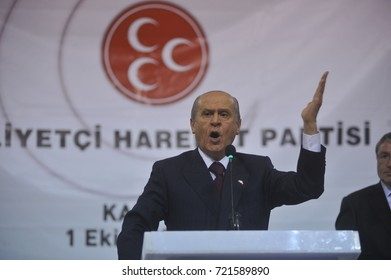 1 October 2010. Kars, Turkey. Devlet Bahçeli  is a Turkish politician who has been the chairman of the Nationalist Movement Party since 6 July 1997