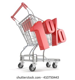 1% - one percent discount in front of shopping cart. Sale concept. 3D render illustration isolated on white background