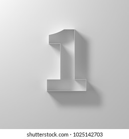 1, one, white paper number, 3d illustration