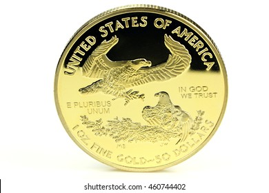 1 ounce American gold eagle bullion coin isolated on white background