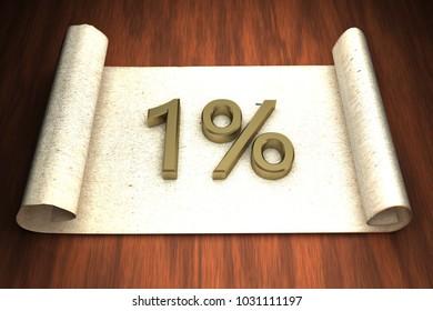 1 per cent, golden numbers, over open paper, 3d rendering