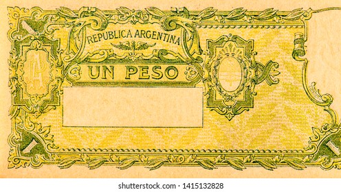 1 Peso Argentina 1947-5350 bank note. Pesos money. Pesos is the former currency of Argentina. Close Up UNC Uncirculated - Collection.