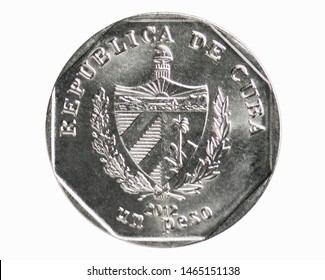1 Peso coin, 1994~Today - Peso Convertible serie, Bank of Cuba. Reverse, issued on 1998. Isolated on white