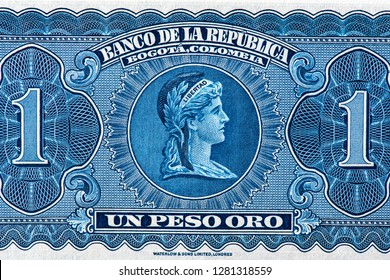 1 pesos de oso bank note, Pesos de oro is the national currency of Colombia. Close Up UNC Uncirculated - Collection.
