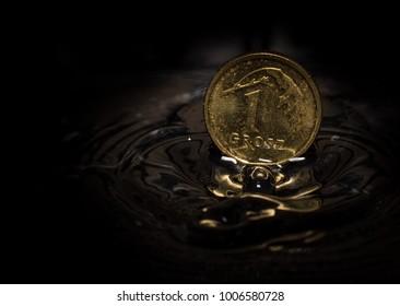 1 Polish cent drop in the water splashing