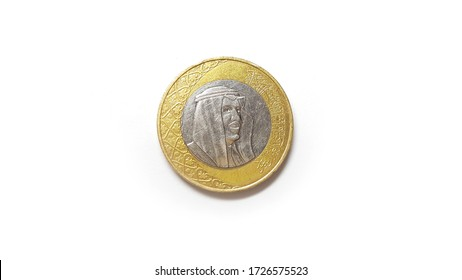1 Riyal Coin of Saudi Arabia Front Side Isolated on White Background