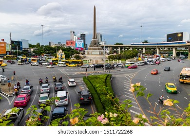 1 Sep 2019.Traffic in the capital around the Victory Monument area,Bangkok,Thailand.
