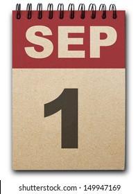 1 September calendar on recycle paper