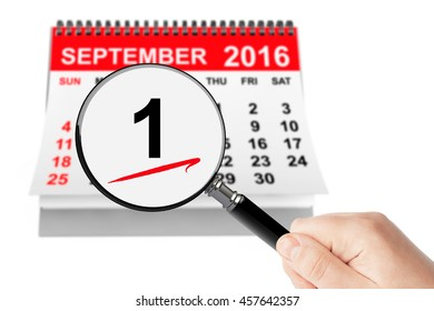 1 september Day Concept. 1 september 2016 calendar with magnifier on a white background