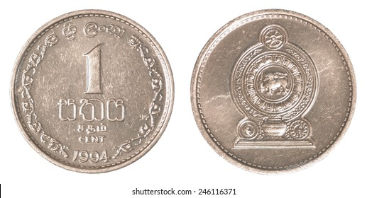 1 Sri Lankan Rucents Coin Isolated On White Background