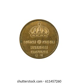 1 swedish oere coin (1971) reverse isolated on white background