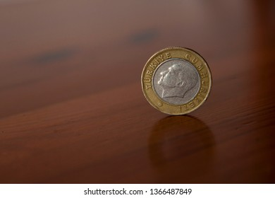 1 Turkish Lira coin. The obverse side of the coin (head) with the silver centre. The currency in Turkey is the Turkish Lira. middle east. europe.