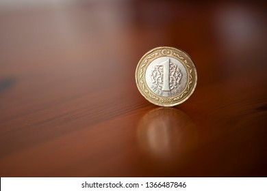 1 Turkish Lira coin. The reverse side of the coin (tail) with the silver centre. The currency in Turkey is the Turkish Lira. middle east. europe.