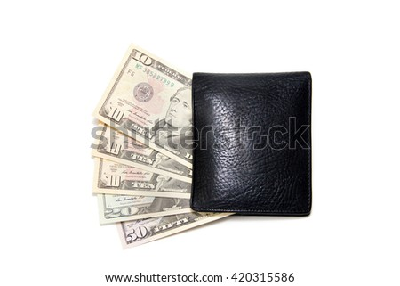 fa490ecfae4e 10 20 50 Dollars Black Wallet Stock Photo (Edit Now) 420315586 ...