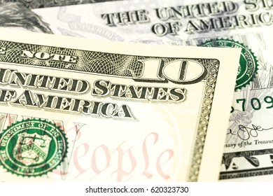 10 and 5 us-dollar bank note obverse detail