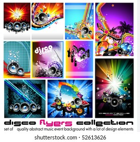10 Abstract Music Background for Discoteque Flyer with a lot of desgin elementes - Set 3