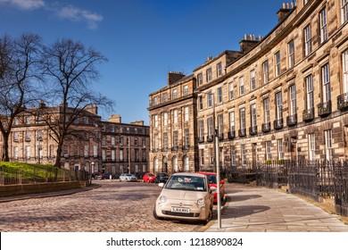 10 April 2016: Edinburgh, Scotland - Randolph Crescent in Edinburgh New Town.