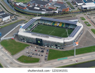 10 April 2018, Den haag, Holland. Aerial view of ADO Den Haag soccer stadium, the Cars Jeans Stadion.