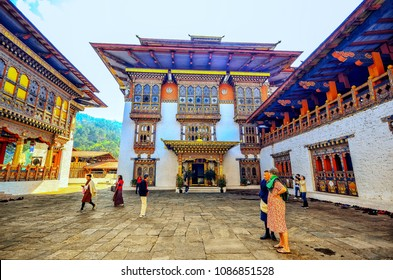 10 April 2018 , Tourists are watching inside of Punakha Dzong , Bhutan