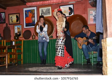 10 Aprile 2017,Seville Spain,singing and dancing flamenco in a typical traditional music venue