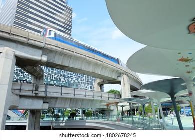 10 aug 2020: Bangkok, Thailand- railways of bts sky train at Siam square district.