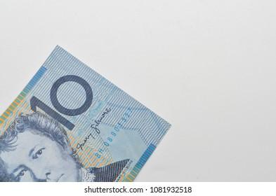 10 Australian dollar Banknote on white background. Selective focus.