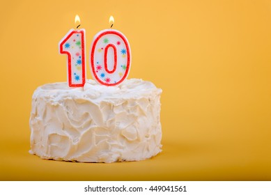 10 Candles On A Birthday Cake For Tenth 10th