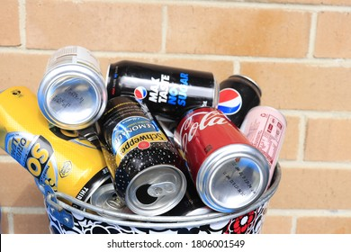 10 Cents refund bottles and cans, Return and earn. Recycled material  photography. 31 August 2020, Kiama NSW Australia