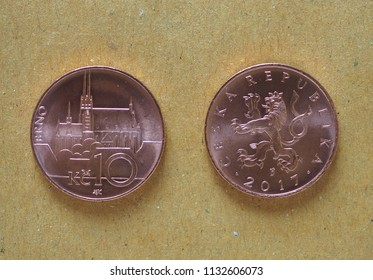10 Czech Koruna coins money (CZK), currency of Czech Republic