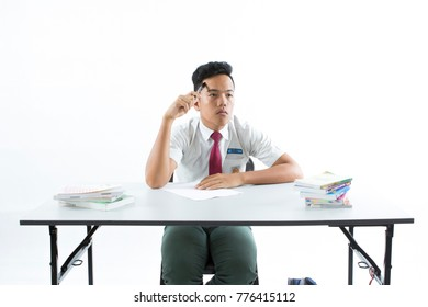 10 December 2017.Kuantan,Pahang,Malaysia.Malaysian secondary school boy isolated on white background.suitable for back to school theme