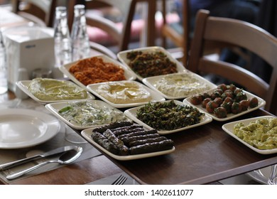 10 Different Turkish Mezes on Tray