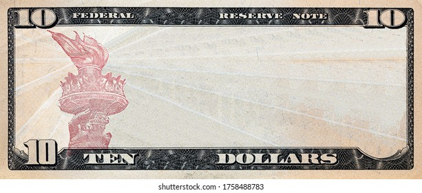 10 dollar bill with empty middle area