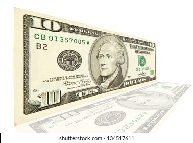 10 dollar isolated on white background