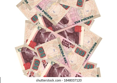 10 Egyptian pounds bills flying down isolated on white. Many banknotes falling with white copyspace on left and right side