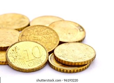 10 Euro cent coins on white background