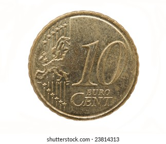 10 Euro cents isolated on white