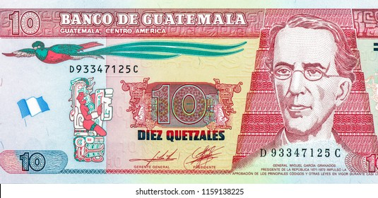 10 Guatemalan quetzal. Quetzal is the national currency of Guatemala, Close Up UNC Uncirculated - Collection.