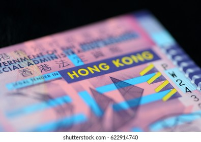 10 Hong Kong dollars on a dark background close up