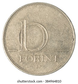 10 Hungarian forint coin isolated on white background