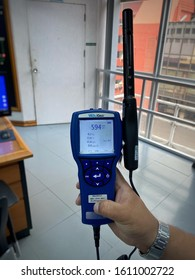 10 JAN 2020 , Air measuring instrument for monitoring indoor air quality in office and testing PM 2.5 , Monitoring of the workplace environment. selective focus at Bangkok , Thailand.