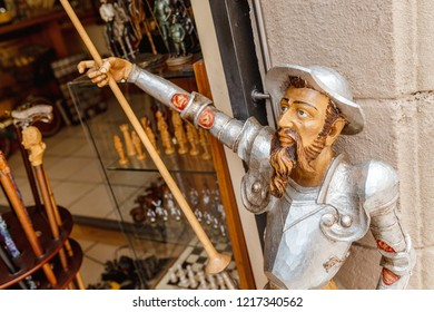 10 JULY 2018, Poble Espanyol, BARCELONA, SPAIN: don Quixote statue in souvenir shop